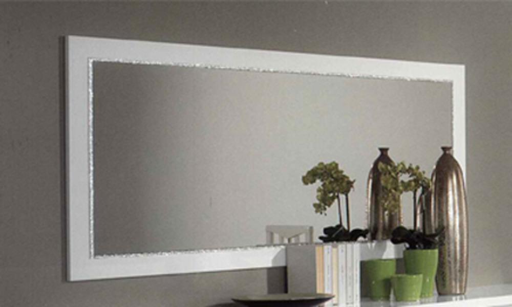 Miroir chic laque blanc - Grand miroir blanc laque ...