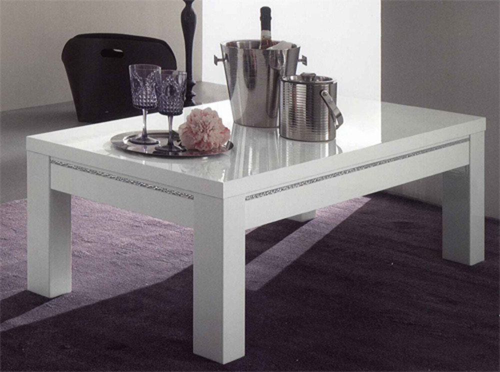 Table basse chic laque blanc blanc l 127 x h 43 x p 66 for Table basse blanc laque