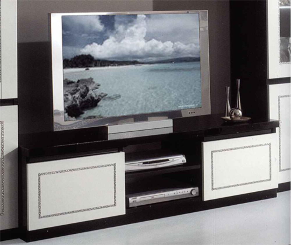 Meuble tv plasma chic laque bicolore for Meuble de tele blanc
