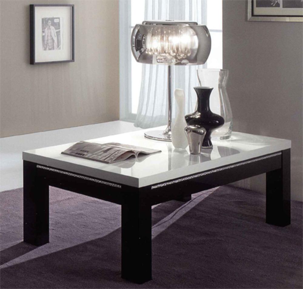table basse chic laque bicolore noir blanc l 100 x h 43 x. Black Bedroom Furniture Sets. Home Design Ideas