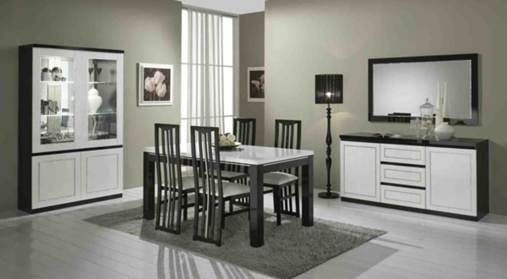 table basse chic laque bicolore noir blanc l 100 x h 43 x p 100. Black Bedroom Furniture Sets. Home Design Ideas