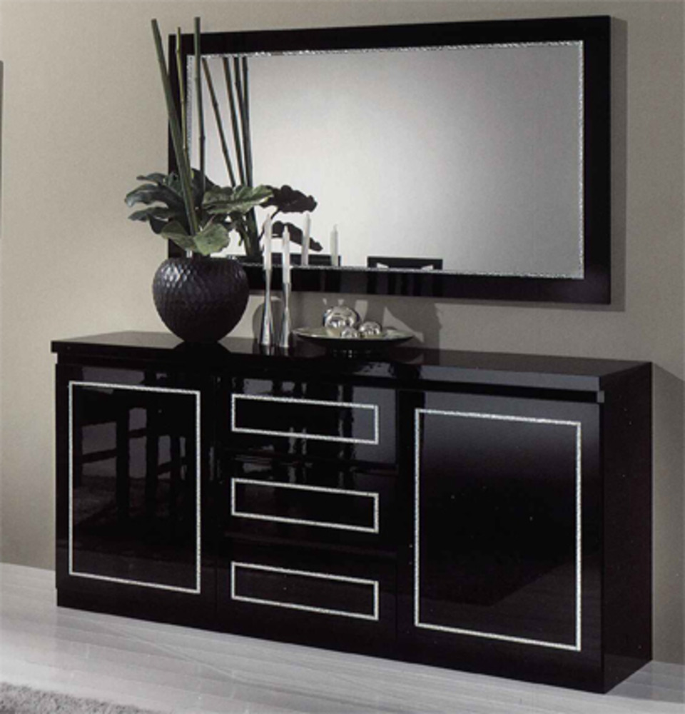 bahut 2 portes 3 tiroirs chic laque noir noir. Black Bedroom Furniture Sets. Home Design Ideas