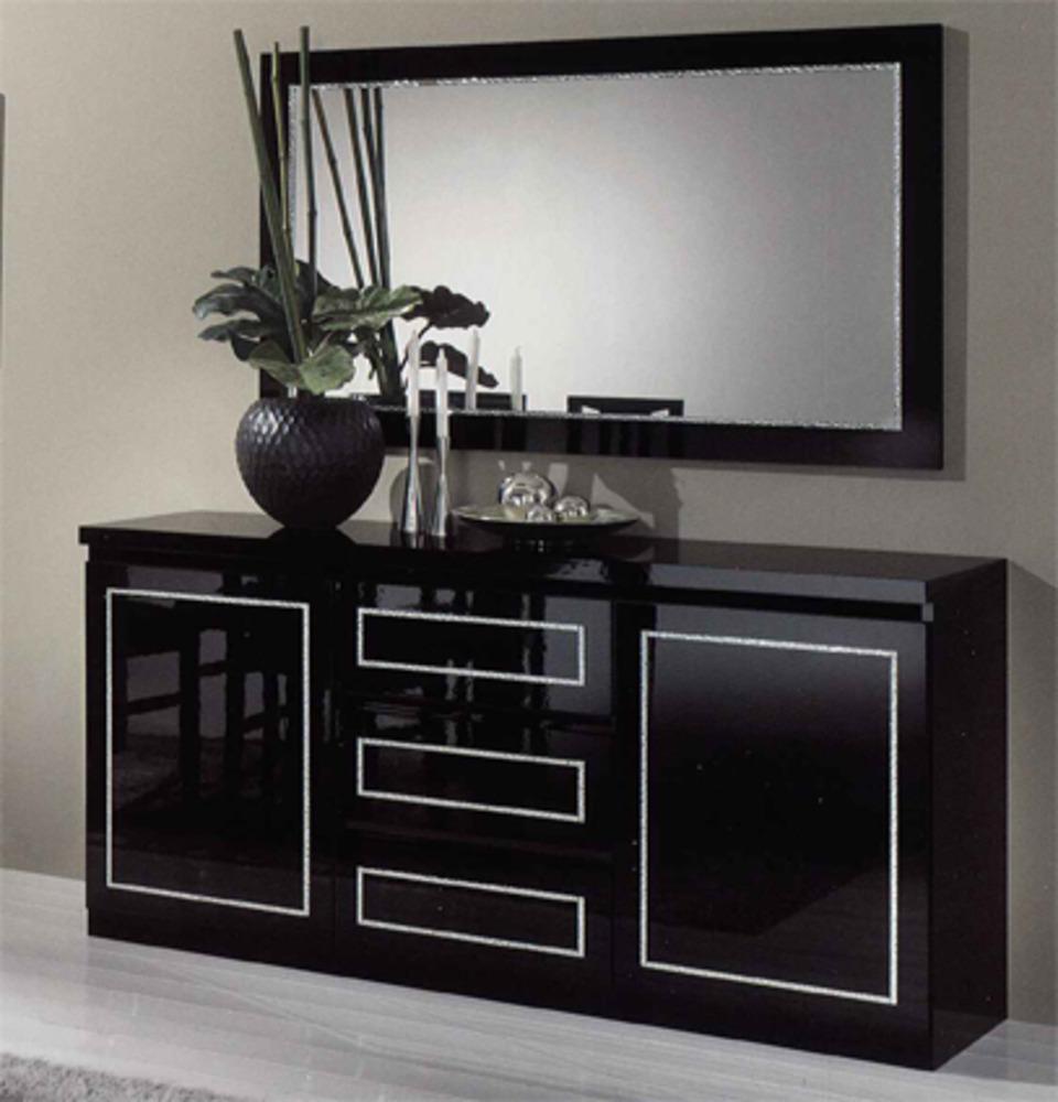 bahut 2 portes 3 tiroirs chic laque noir noir. Black Bedroom Furniture Sets. Home Design Ideas