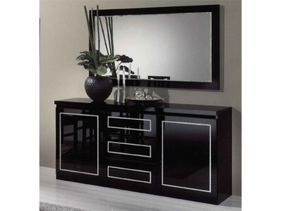 bahut 2 portes 3 tiroirs chic laque noir. Black Bedroom Furniture Sets. Home Design Ideas
