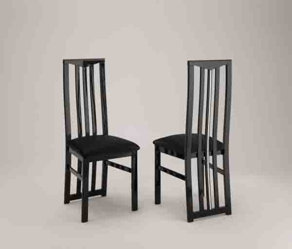 Chic laque noir s jours chaises de salle manger chaise for Chaise noir salle a manger