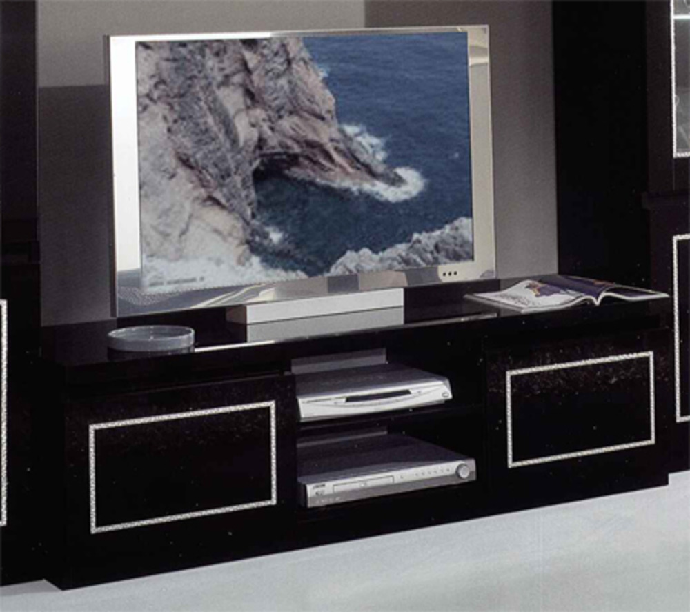 meuble tv design noir avec support plasma cosy solutions. Black Bedroom Furniture Sets. Home Design Ideas