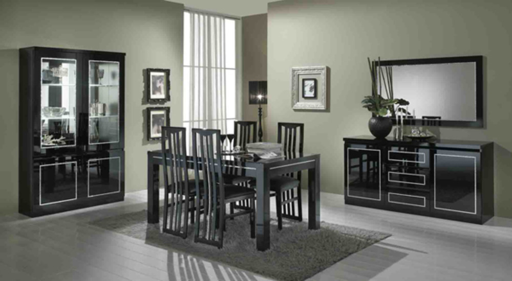 table de repas chic laque noir noir l 190 x h 76 x p 90. Black Bedroom Furniture Sets. Home Design Ideas