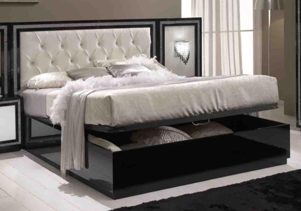 Lit coffre krystel laque bicolore noir blanc - Rangement chaussures sous lit ...