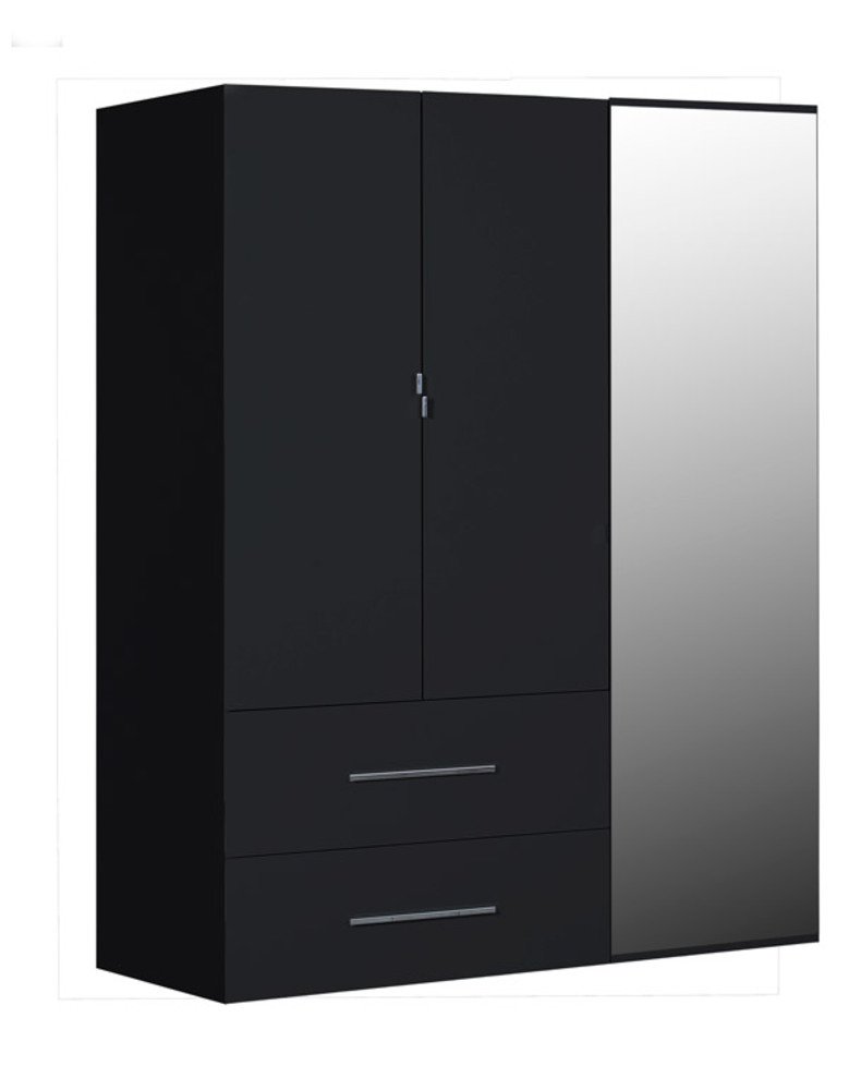 armoire 3 portes 2 tiroirs first noire noir brillant. Black Bedroom Furniture Sets. Home Design Ideas