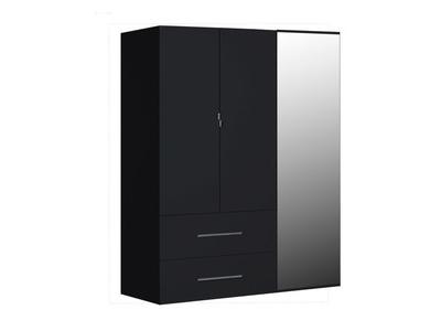 Armoire 3 portes 2 tiroirs First noire