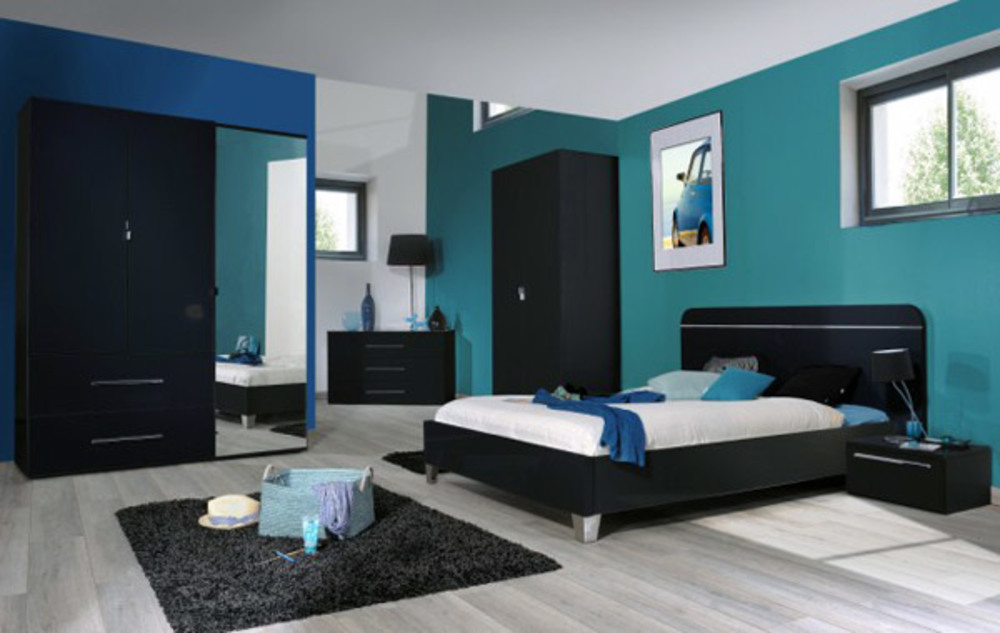 lit 140 x 190 first noire noir brillant. Black Bedroom Furniture Sets. Home Design Ideas