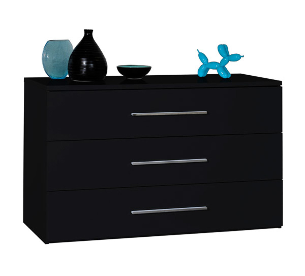 commode 3 tiroirs first noire noir brillant. Black Bedroom Furniture Sets. Home Design Ideas