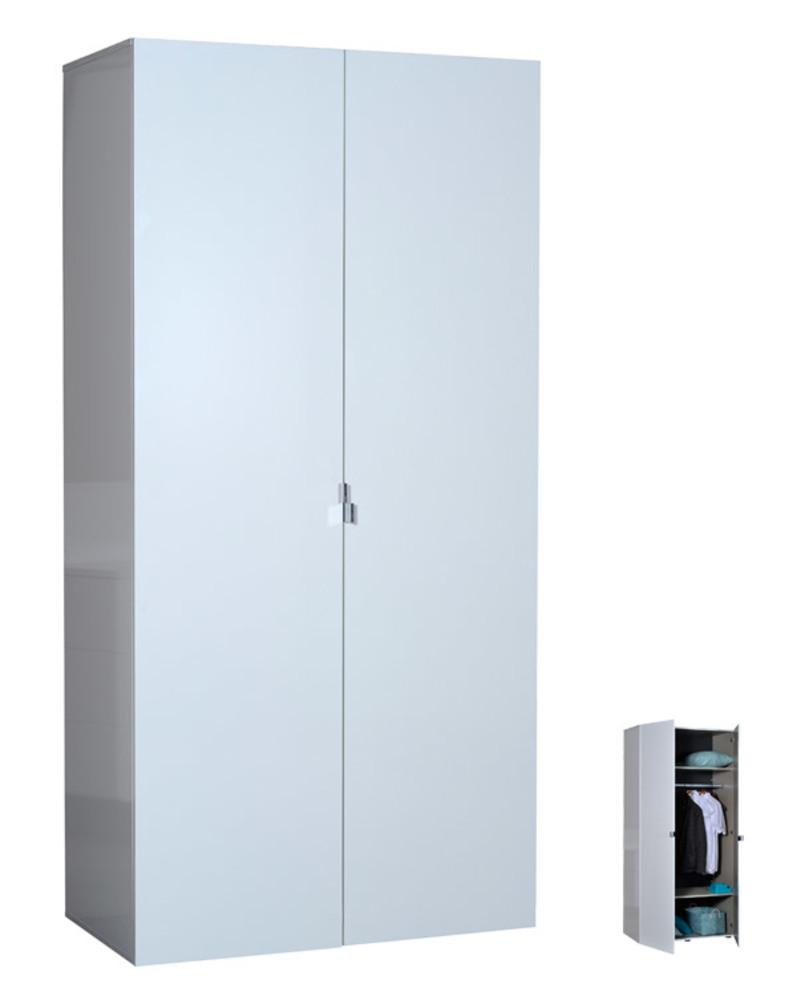 Armoire 2 portes first blanche blanc brillant for Porte interieure blanche simple