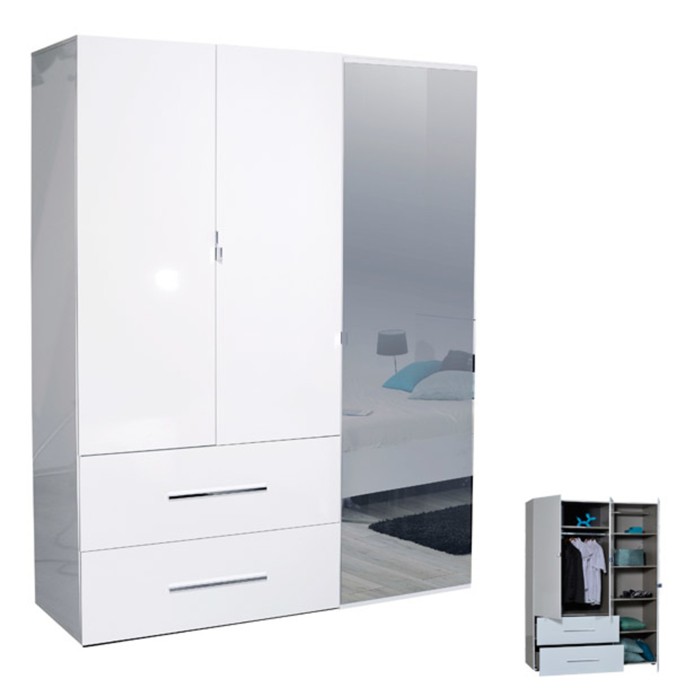 Armoire 3 portes 2 tiroirs first blanche blanc brillant for Meuble 3 portes 2 tiroirs