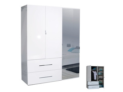 armoire 3 portes 2 tiroirs first blanche blanc brillant. Black Bedroom Furniture Sets. Home Design Ideas