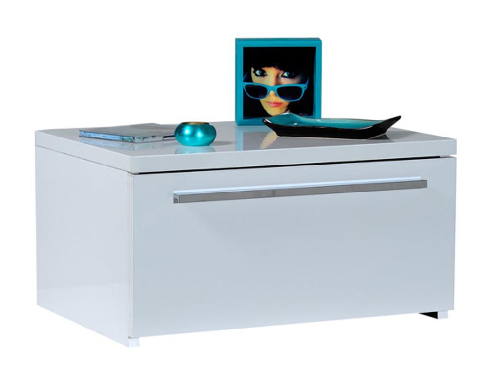 chevet 1 tiroir first blanche blanc brillant. Black Bedroom Furniture Sets. Home Design Ideas