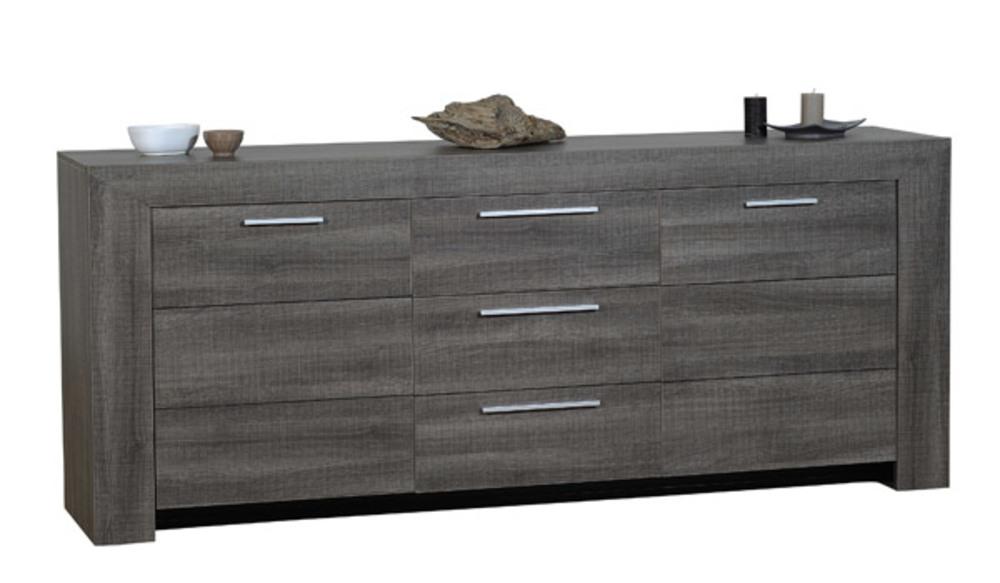 bahut 3 portes 1 tiroir lathi 56 chene gris fonce. Black Bedroom Furniture Sets. Home Design Ideas
