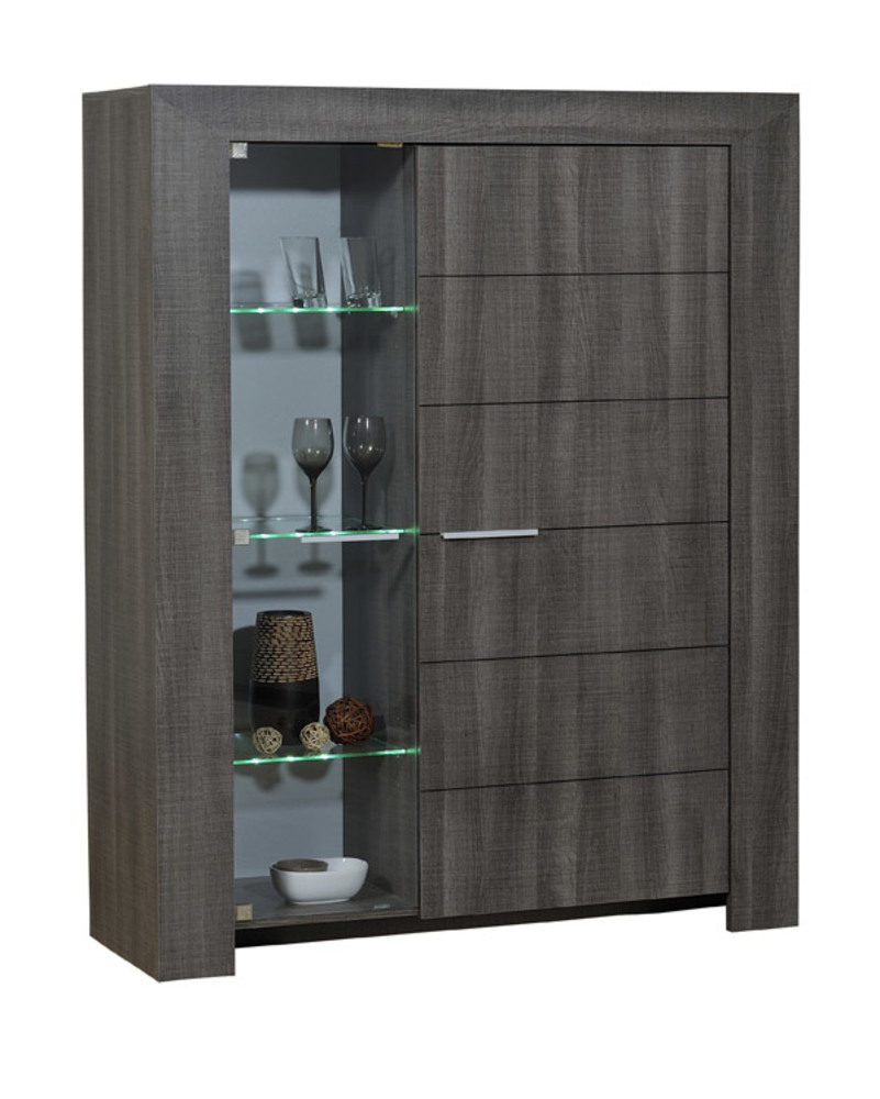 meuble de rangement 2 portes lathi 56 chene gris fonce. Black Bedroom Furniture Sets. Home Design Ideas
