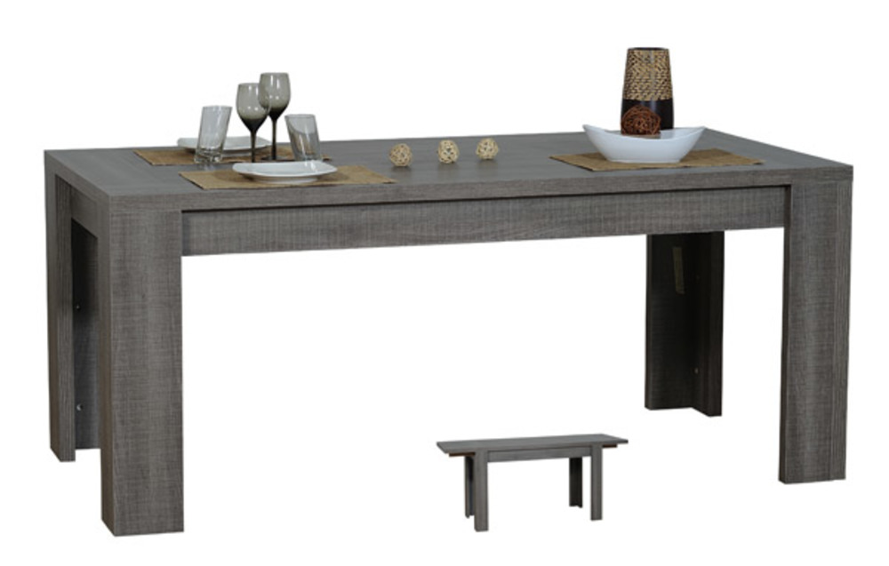 Table repas extensible rectangulaire lathi 56 chene gris fonce for Table sejour extensible