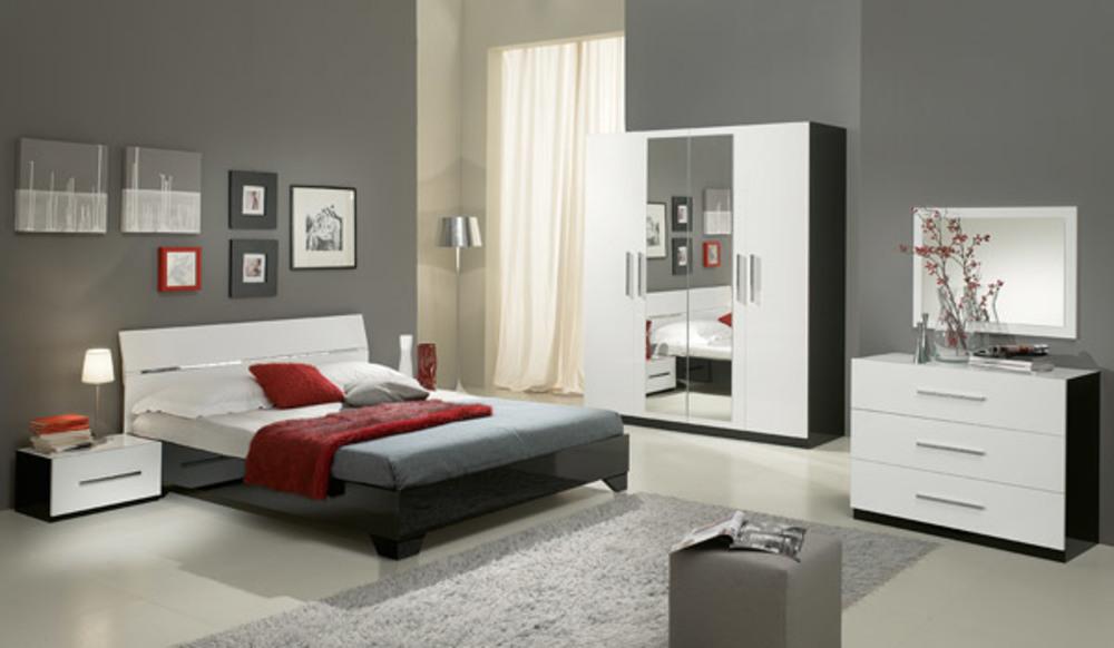 Chambre complete gloria laqu e noir et blanc blanc noir - Chambre a coucher noir et blanc ...