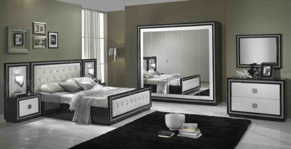lit capitonne krystel laque bicolore noir blanc. Black Bedroom Furniture Sets. Home Design Ideas