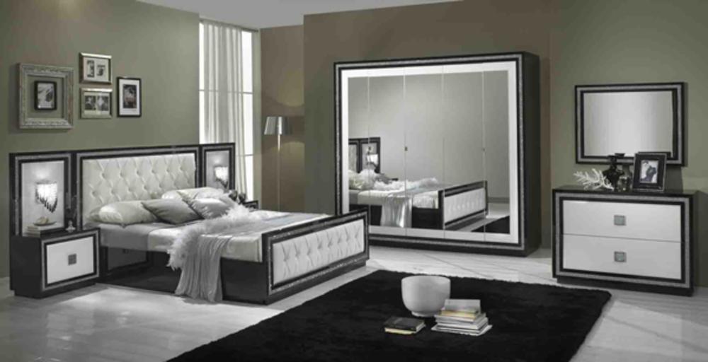 Lit capitonne krystel laque bicolore noir blanc for Chambre a coucher lit avec tiroir