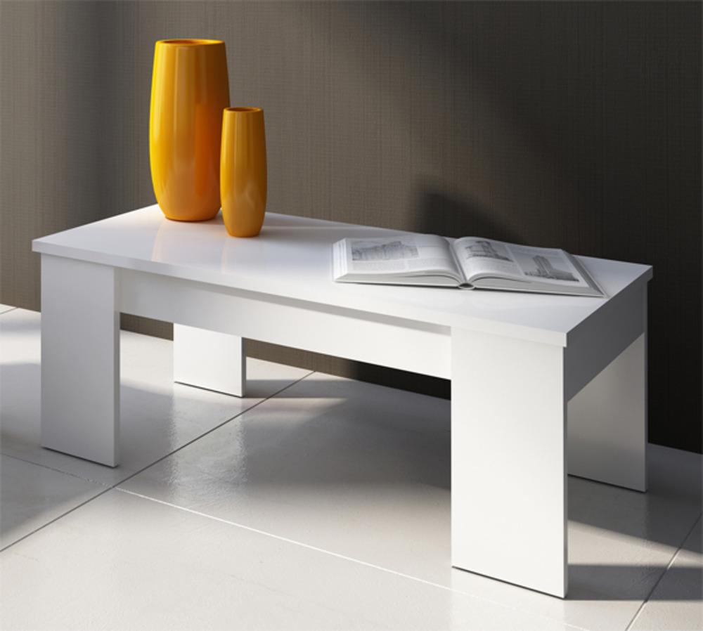 table basse relevable eco blanc brillant. Black Bedroom Furniture Sets. Home Design Ideas