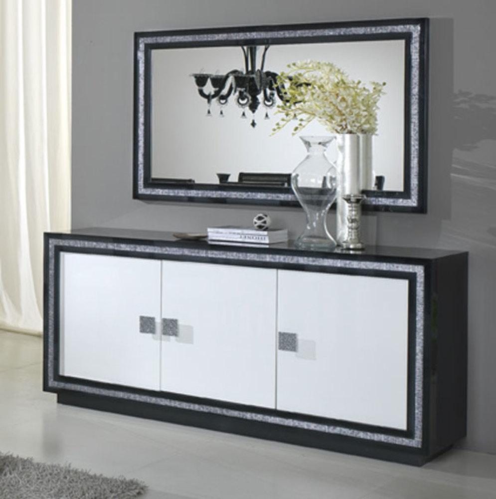bahut 3 portes prestige 302 laque bicolore noir blanc. Black Bedroom Furniture Sets. Home Design Ideas