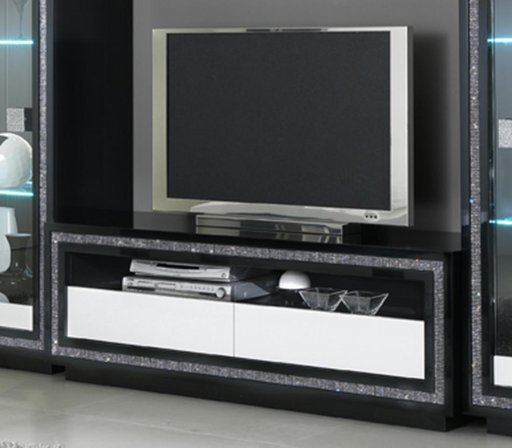 Meuble Tv Prestige 302 Laque Bicolore Noir Blanc # Meuble Tv Noir Blanc