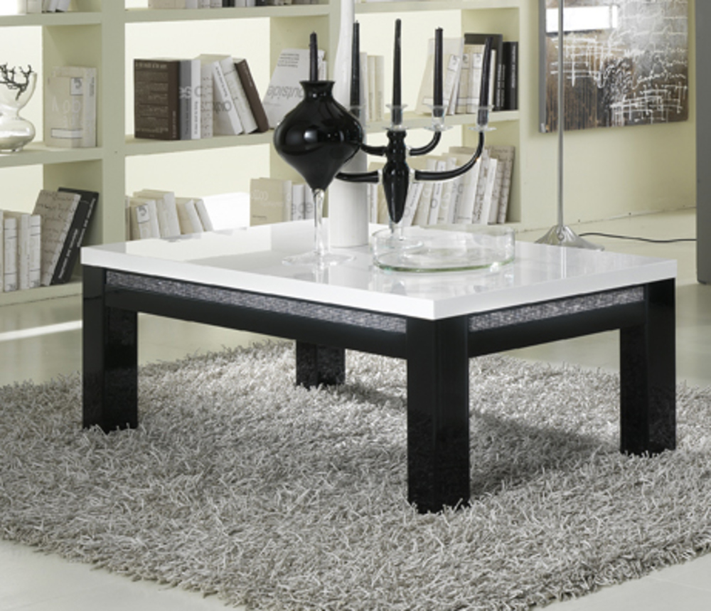 table basse prestige 302 laque bicolore noir blanc. Black Bedroom Furniture Sets. Home Design Ideas