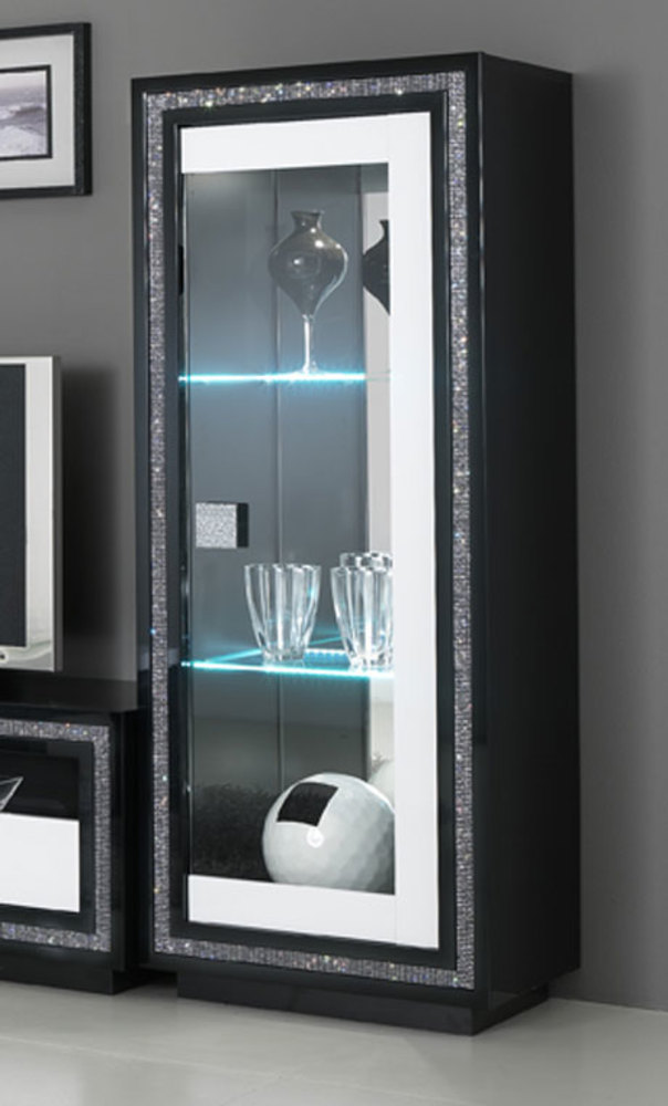 vitrine 1 porte avec leds prestige 302 laque bicolore noir blanc. Black Bedroom Furniture Sets. Home Design Ideas