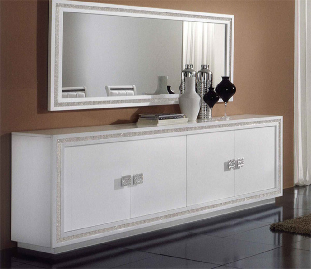 bahut 4 portes prestige 302 laque blanc blanc. Black Bedroom Furniture Sets. Home Design Ideas