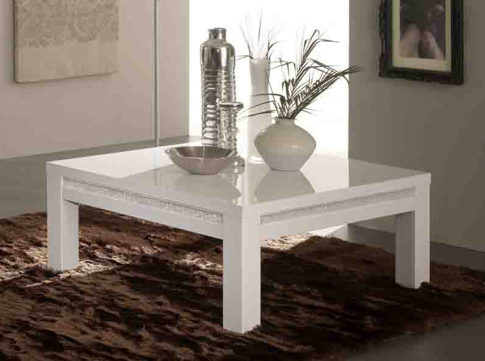 Table basse prestige 302 laque blancl 100 x h 43 x p 100 for Table salon laque blanc
