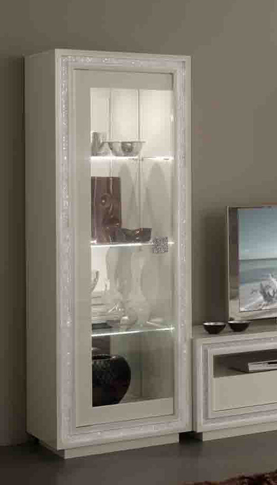 vitrine 1 porte avec leds prestige 302 laque blanc. Black Bedroom Furniture Sets. Home Design Ideas