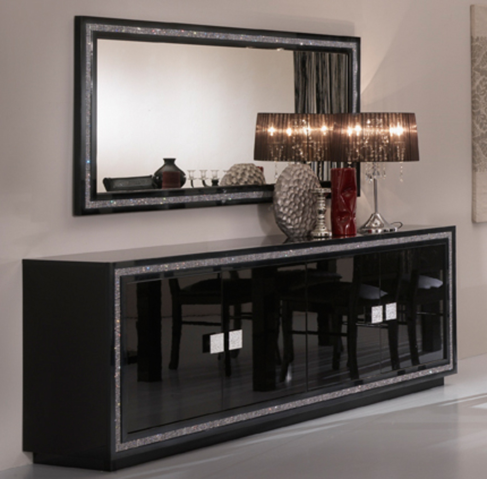 bahut 4 portes prestige 302 laque noir. Black Bedroom Furniture Sets. Home Design Ideas