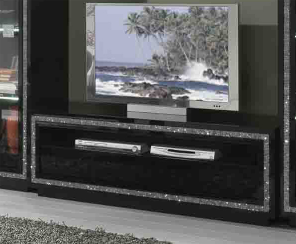 Meuble tv prestige 302 laque noir noir for Meuble tv hifi noir