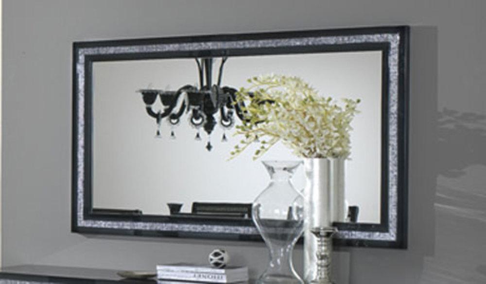 Miroir prestige 302 laque noir noir l 180 x h 85 for Miroir sejour