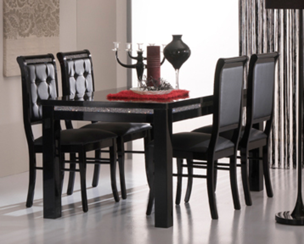table de repas prestige 302 laque noirl 190 x h 76 x p 90. Black Bedroom Furniture Sets. Home Design Ideas