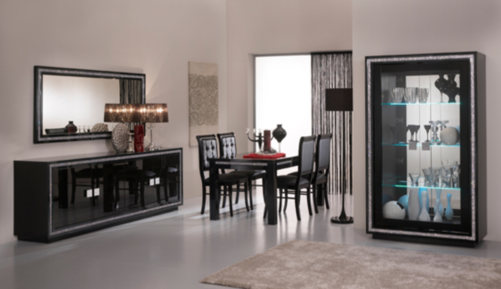vitrine 1 porte avec leds prestige 302 laque noir. Black Bedroom Furniture Sets. Home Design Ideas