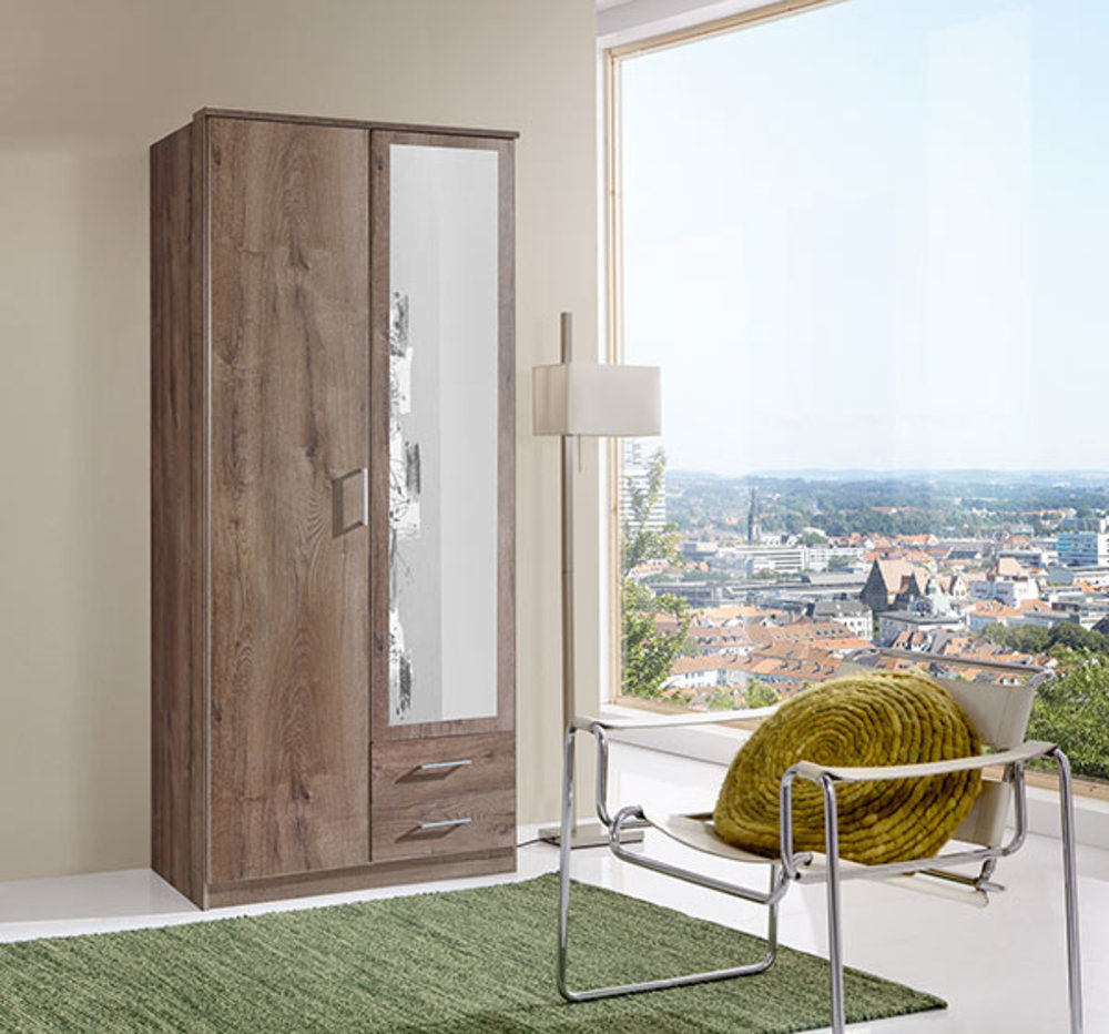 armoire 2 portes dont 1 miroir 2 tiroirs oskar chene chataigner. Black Bedroom Furniture Sets. Home Design Ideas