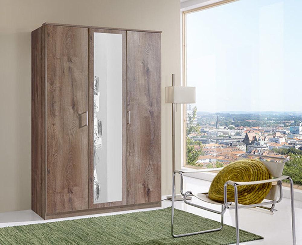 armoire 3 portes dont 1 miroir oskar chene chataigner. Black Bedroom Furniture Sets. Home Design Ideas