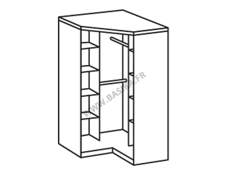 Armoire d 39 angle 2 portes oskar chene fonce - Armoire d angle chambre ...
