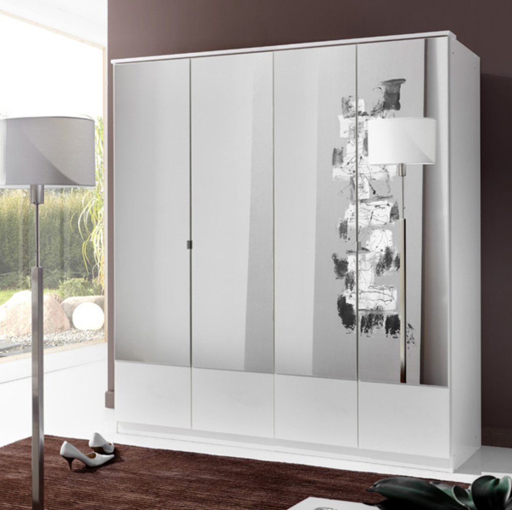 armoire 4 portes imago blanc. Black Bedroom Furniture Sets. Home Design Ideas