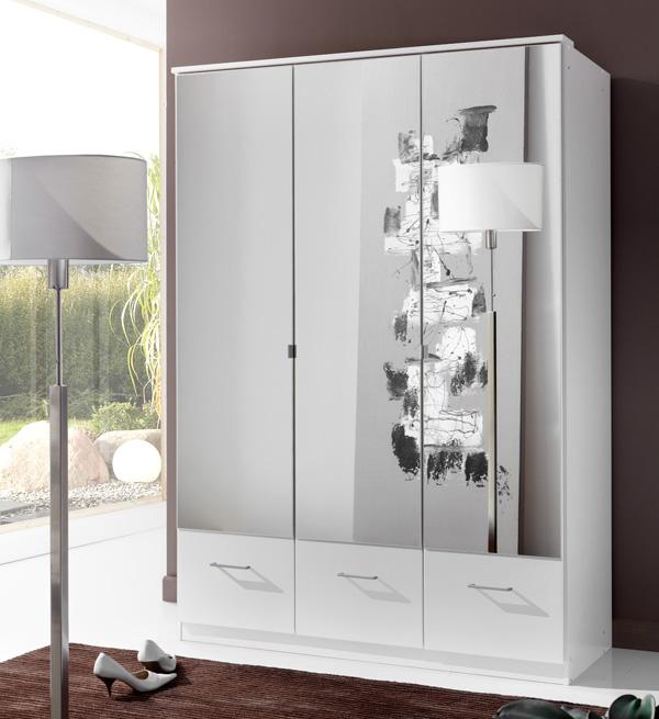 armoire 3 portes 3 tiroirs imago blanc. Black Bedroom Furniture Sets. Home Design Ideas