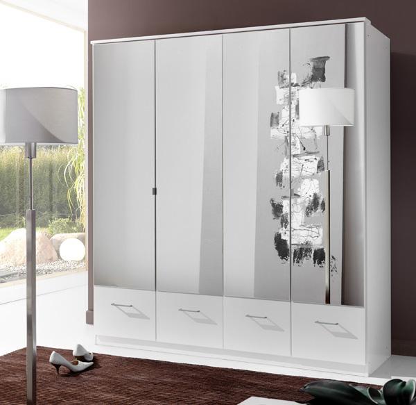 armoire 4 portes 4 tiroirs imago blanc. Black Bedroom Furniture Sets. Home Design Ideas