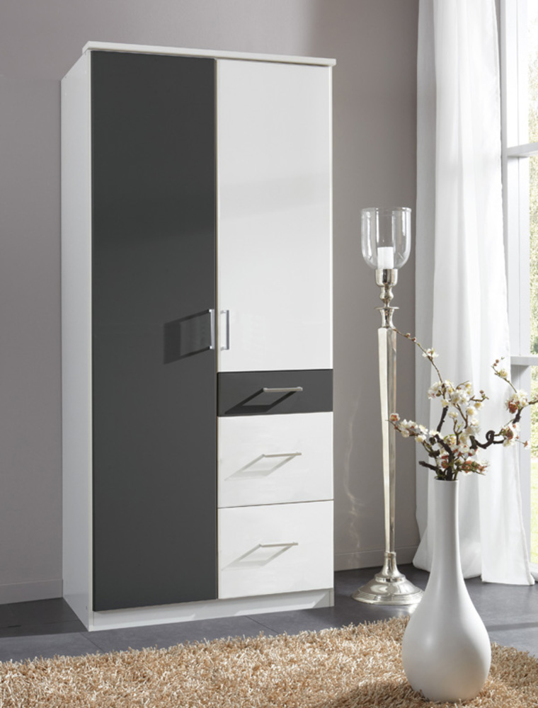 armoire 2 portes 3 tiroirs click blanc anthracite. Black Bedroom Furniture Sets. Home Design Ideas
