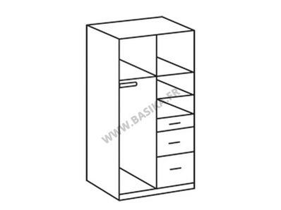 Armoire 2 portes 3 tiroirs Click