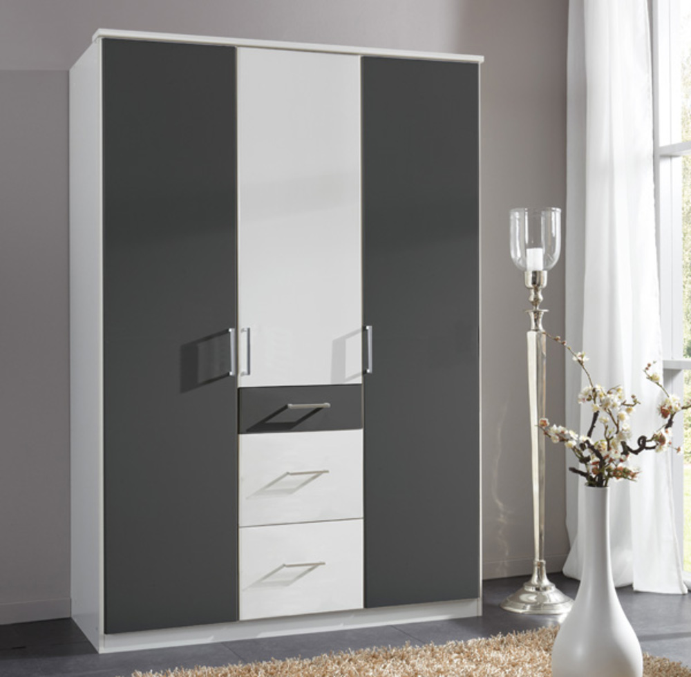 armoire 3 portes 3 tiroirs click blanc anthracite. Black Bedroom Furniture Sets. Home Design Ideas