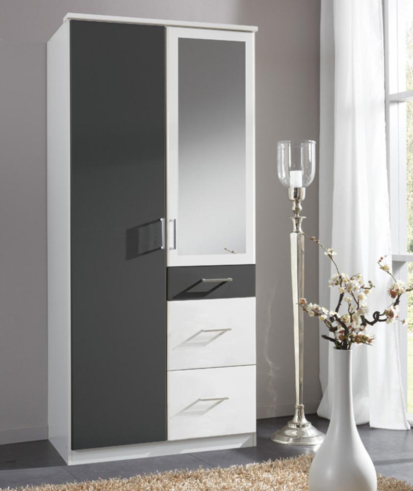 Armoire 2 portes dont 1 miroir 3 tiroirs click blanc - Armoire 2 portes 3 tiroirs ...