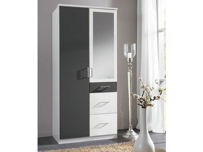 Armoire 2 portes dont 1 miroir 3 tiroirs